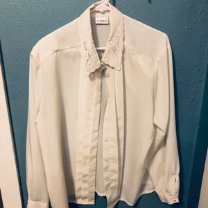 Koret Vintage White Lace Button Up Shirt